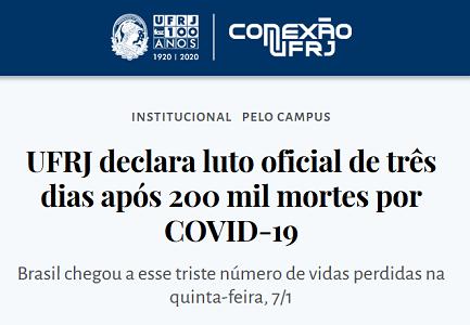 UFRJ declara luto oficial de três dias após 200 mil mortes por COVID-19